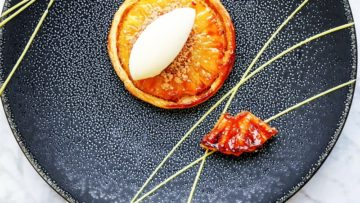 Pineapple Tart Tatin, Coconut & Lemongrass Sorbet Using Special Ingredients Silk Gel, Lemongrass Flavour Drop & Coconut Flavour Drop